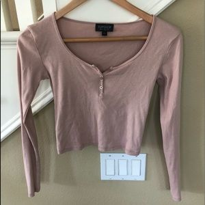 Top shop long sleeve top pink sz 2